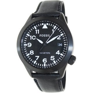 Fossil Men's Aeroflite AM4515 Black Leather Quartz Watch with Black Dial