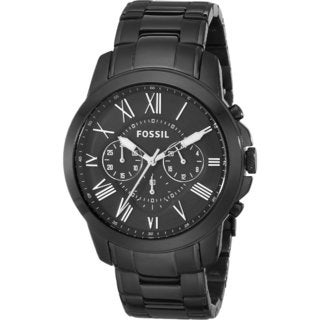Fossil Men's Grant FS4832 Black Stainless-Steel Quartz Watch with Black Dial