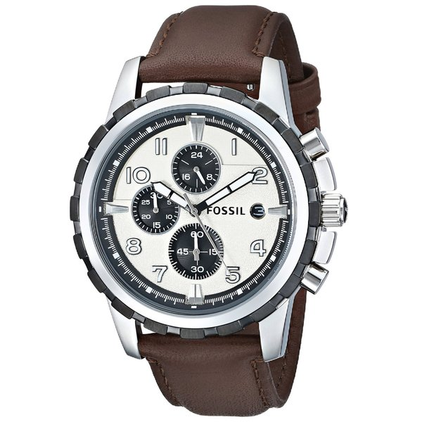 Fossil Men's Dean FS4829 Brown Leather Quartz Watch with Grey Dial