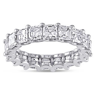 Miadora 18k White Gold 5ct TDW Certified Asscher-cut Diamond Eternity Ring (F-G, VS2-SI1)
