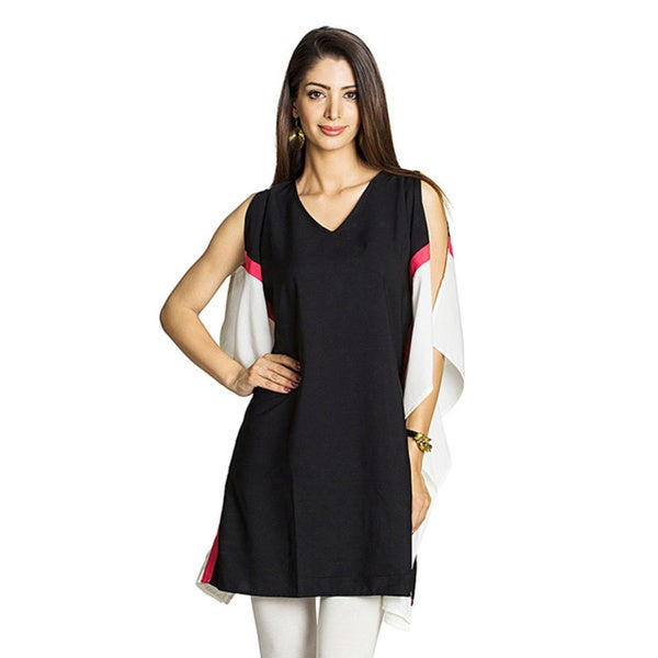 MOHR Women's Slit Sleeveless Color Block Tunic Top (India) 13293168