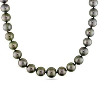 Miadora 14k Yellow Gold Tahitian Pearl Necklace (8-10 mm)