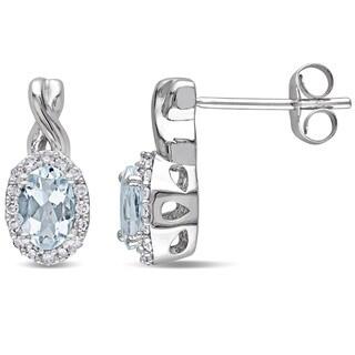 Miadora 10k White Gold Aquamarine and 1/6ct TDW Diamond Earrings (G-H, I1-I2)