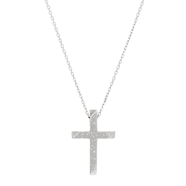 Sterling Silver Stardust Cross Cable Chain Pendant Necklace