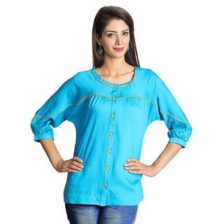 MOHR Women's Blue Kimono Sleeve Tunic (India)