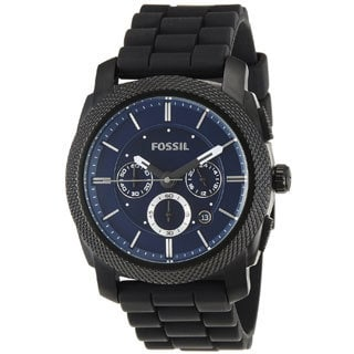 Fossil Men's FS4605 Black Silicone Analog Quartz Watch with Blue Dial