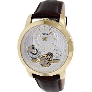 Fossil Men's Grant ME1127 Brown Leather Analog Quartz Watch with White Dial