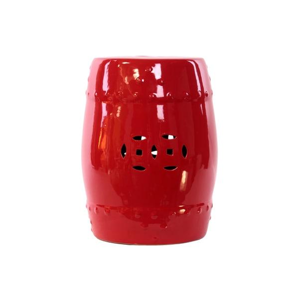 Red Ceramic Garden Stool 16371309 Overstock Com