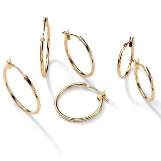 PalmBeach Three-Pair Set of Hoop Earrings in 10k Gold Tailored