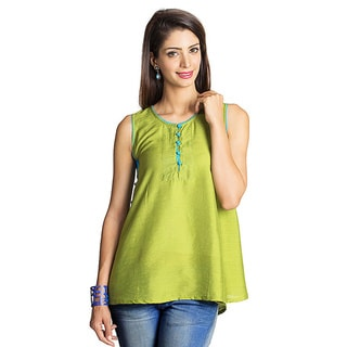 MOHR Women's Dark Green Button-placket Sleeveless Tunic (India)