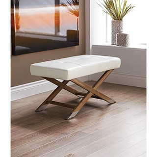 Sunpan Vivian Leather/ Reclaimed Wood Bench