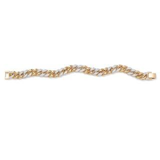 "PalmBeach Men's 1.35 TCW Round Cubic Zirconia 14k Yellow Gold-Plated Curb-Link Bracelet 8"""