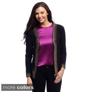 Belldini Women's Studded Detail Long-sleeve Cardigan
