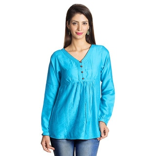 MOHR Women's Mid Blue Button-placket Long Sleeve Tunic (India)