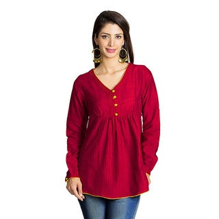 MOHR Women's Dark Red Button-placket Long Sleeve Tunic (India)