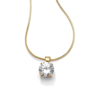 "PalmBeach 4 TCW Round Solitaire Cubic Zirconia Pendant Necklace 14k Yellow Gold-Plated 16"" Classic CZ"
