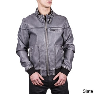Men's Distressed PU Leather Bomber Jacket
