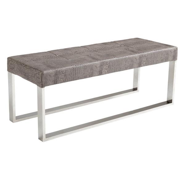 Sunpan Mirage Crocodile Upholstered Stainless Steel Bench