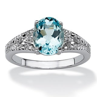 Angelina D'Andrea Platinum Over Sterling SIlver Blue Topaz and Diamond Accent Ring