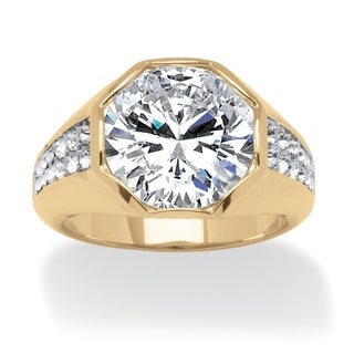 PalmBeach Men's 6 Carat Round Cubic Zirconia Octagon Ring 14K Gold-Plated