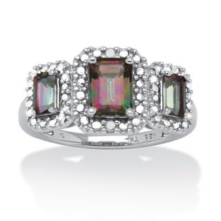 PalmBeach Platinum over Silver Fire Topaz and Diamond Accent Ring (H-I, I2-I3)