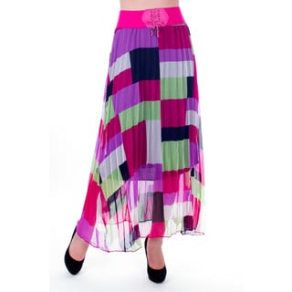 Women's Long Ankle Printed Pull-on Pleated Skirt with Elastic Belt