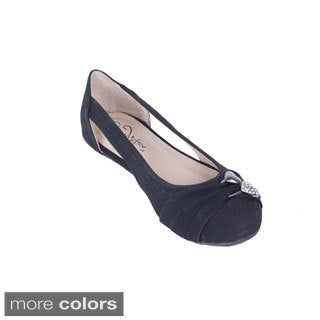 Women's Velvet Open Side Ballerina Flats