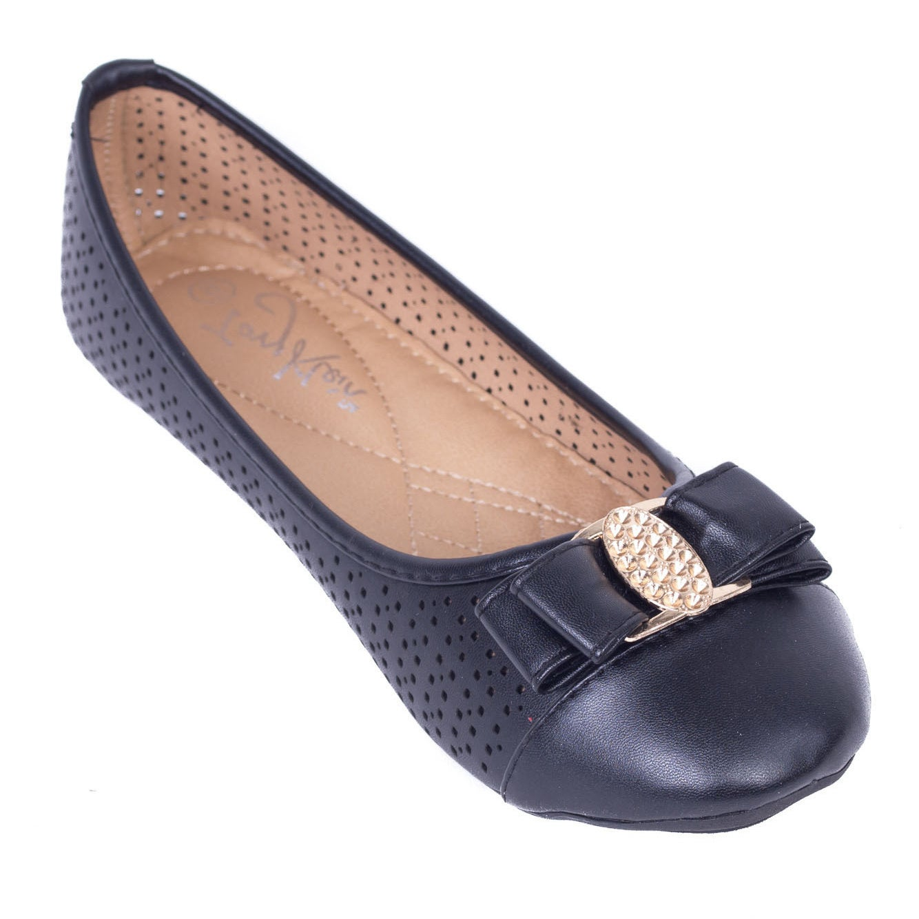 Overstock.com Women's Shimmering Buckle Perforated Ballerina Flats at Sears.com