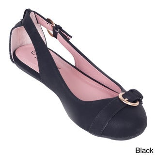 Women's Double Buckled Cutout Ballerina Flats