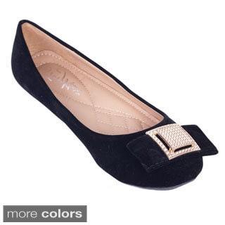 Women's Velvet Bow Ballerina Flats