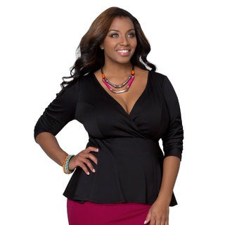 Kiyonna Women's Plus Size Black Ponte Peplum Top
