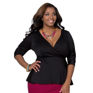 Women's Plus Size Black Ponte Peplum Top