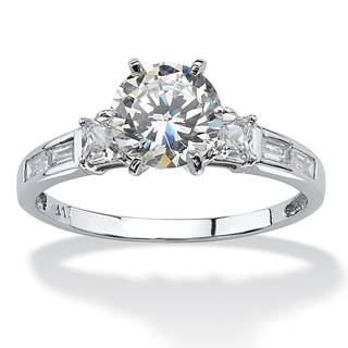 PalmBeach 2.14 TCW Round Cubic Zirconia and Baguette Accents Ring in 10k White Gold Classic CZ