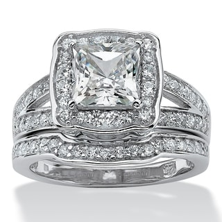 Ultimate Platinum over Silver Cubic Zirconia Bridal Ring Set