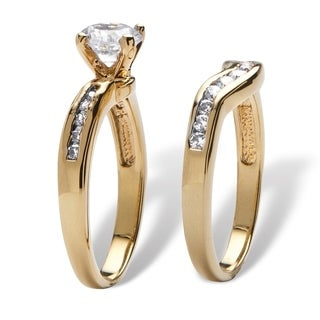 Ultimate 18k Gold Overlay Cubic Zirconia Bridal Ring Set