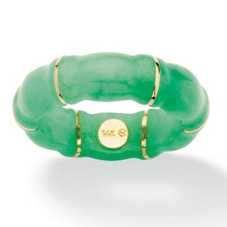 PalmBeach 10k Yellow Gold Jade Bamboo Ring Naturalist