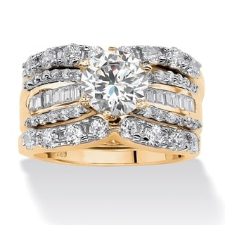 Ultimate 18k Gold over Silver Cubic Zirconia 3-band Bridal Ring Set