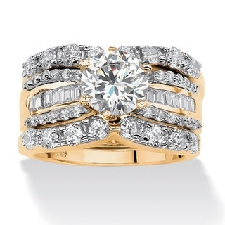 PalmBeach 3 Piece 5.62 TCW Round Cubic Zirconia Bridal Ring Set in 18k Gold over Sterling Silver Glam CZ