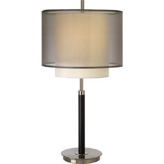 Roosevelt Sheer Smoke Shantung Two-tiered Table Lamp