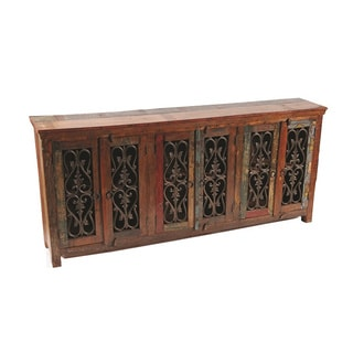 Beech 6 Door Iron Jali Buffet