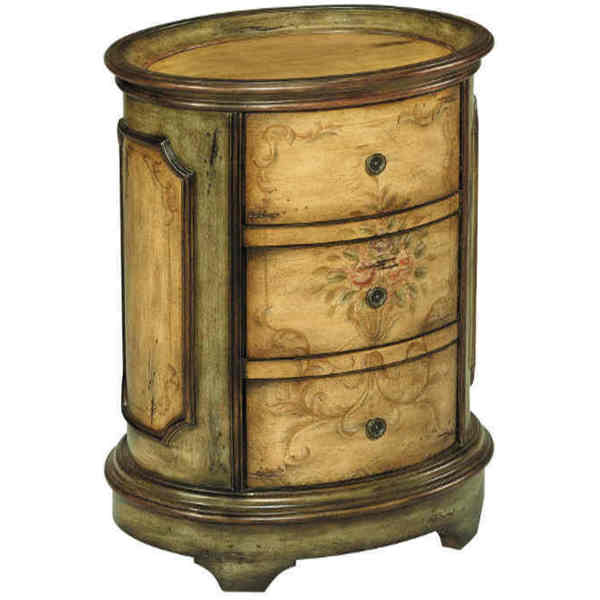 Dover Antiqued Floral-motif Accent Table