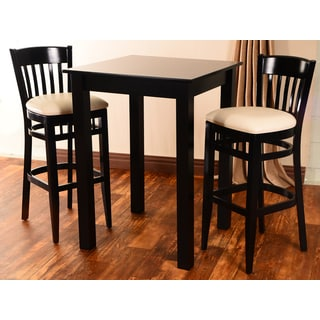 Westbury 3-piece Black Beechwood Bar Set