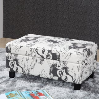 Vintage Hollywood Stars Fabric Storage Ottoman