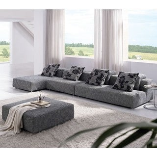 Tosh Modern Grey Zebrano Fabric Sectional Sofa