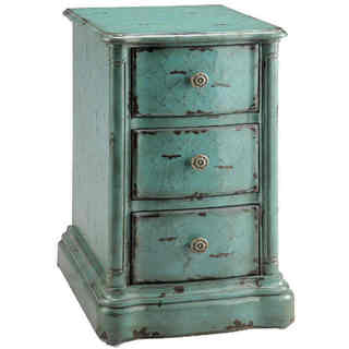 Ilana Crackle Blue Turquoise Chairside Chest