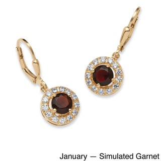 Birthstone Halo Drop Earrings in 18k Gold Over .925 Sterling Silver Color Fun