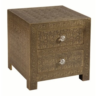 Portico Floral Etched Brass Accent Chest