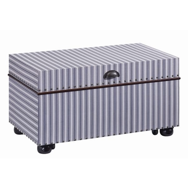 Ticking Striped Fabric Accent Trunk