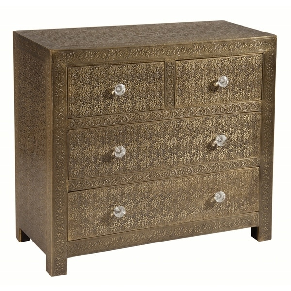 Portico Floral-etched Brass Sheeted Accent Chest