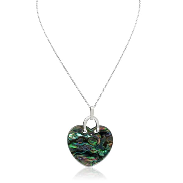 Gioelli Sterling Silver Abalone Shell and Resin with Black Onyx On Back Heart Necklace